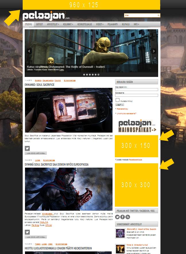 Pelaajan.net mainosalueet